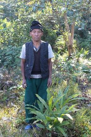 a Nepalese man standing next to a Cardamom plant distributed by the EbA South project.